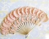 Pink Ruffle & Flutter...Delicious Vintage Handpainted Paper Fan