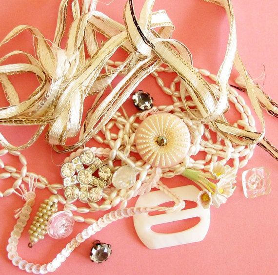 Glamour Treats...Fun and Sparkly Vintage Ribbon, Trims, & Buttons