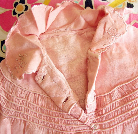 All Dressed Up...Adorable Old Pink Silk Baby Coat