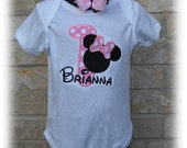 Personalized Minnie Mouse Pink Dot Number Birthday Shirt & Headband Bow