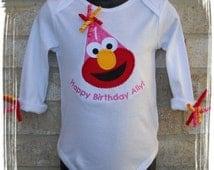 Personalized White Long Sleeved Elmo Birthday Hat Onesie 1st, 2nd 3rd Birthday