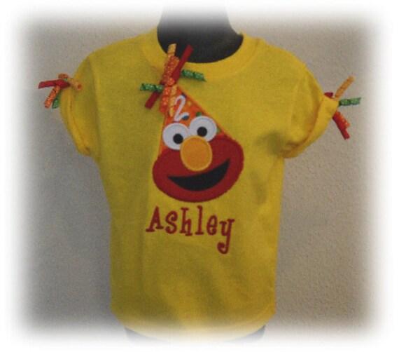 Elmo Bright Yellow Short Sleeved Personalized Birthday Hat Shirt