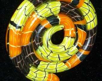Orange and Black Spooky Halloween Polymer Clay Coiled Snake Charm Hisssss
