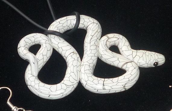 Striking Whitesnake Necklace Pendant White scales outlined in black Stocking Stuffer