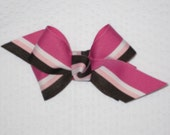SoBella Creations Chocolate Raspberry Bow with Pink and Brown Stripes