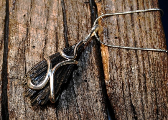 Black Kyanite Fan- Unique Natural Stone Necklace in Sterling Silver- OOAK- One of a Kind- Healing Stone- Free Shipping
