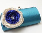 Wedding Bridesmaid Clutch Teal Royal Blue Ivory -  Bridal Clutch - Rhinestones and Pearls  - Something Blue Bridal Clutch