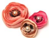 Circus Chic Flower Hair Pins in Yummy Shades of Pink , Peach n Champagne