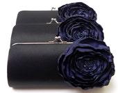 Black Clutch with Navy Midnight Blue Flower - Bridesmaid Clutch - Kisslock Snap Petite Bouquet Clutch - Navy Blue Flower Bloom
