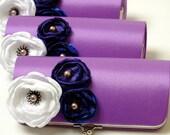 Lavender Purple Clutch - Bridesmaid Clutch or Bridal Clutch Flower Clutch - Royal Blue, Violet & White Flower Blossoms