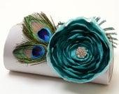 Silver & Mediterranean Emerald Clutch - Bridal Clutch - Bridesmaid Clutch - Peacock Feather Clutch With Rhinstones  - Emerald Teal Flower