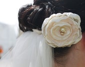 Shabby Chic Bridal Flower Hair Clip or Bridesmaid Flower Hair Clip Facinator in Light Ivory Pearls & Lace - SALE -