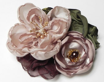 Bridal Champagne & Green Flower Hair Clip Facinator - Flower Garden Forest Woodland Inspired - SALE