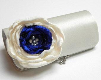 Ivory Royal Blue Bridal Clutch or Bridesmaid Clutch - Rhinestones and Pearls  - Kisslock Snap Clutch - Somthing Blue Bridal Clutch