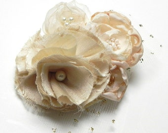 Bridal Flower Bloom Hair Clip - Vanilla Ivory Pearl - SALE - Silk Edwardian Victorian Garden - Bridal Sash or Corsage Pin