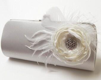 Bridal Clutch Off White -  Bridesmaid Clutch - Feather Clutch With Rhinstones - Kisslock Snap Bouquet Clutch -
