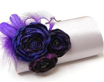 Silver & Purple Feather Clutch - Feather Bridal Clutch - Bridesmaid Clutches - Purple Violet Eggplant Plum Royal Flowers- Purple Feathers