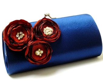 Navy Blue Clutch - Rust Burnt Orange Flowers - Bridal Clutch - Bridesmaid Clutch - Kisslock Snap Bouquet Clutch Autumn Fall  Wedding