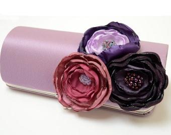 Bridesmaid Clutch - Lilac Purple Clutch - Bridal Clutch - Shabby Chic Flower Bouquet Clutch - Purple Garden Blossoms