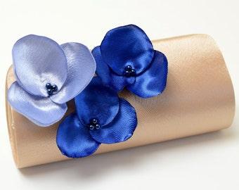 Bridal Clutch or Bridesmaid Bouquet Orchid Flower Clutch  - Dark Champagne Latte Royal Blue & Periwinkle