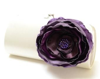 Ivory Clutch - Bridal Clutch - Bridesmaid Clutch -  Bouquet Clutch - Magenta Eggplant & Amethyst Purple Flower