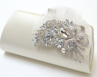 Rhinestone Bridal Clutch in Ivory - Bridesmaid Clutch - Formal Clutch - Rhinestone Clutch - Medium Size - SALE