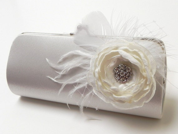 Bridal Clutch Off White -  Bridesmaid Clutch - Feather Clutch With Rhinstones - Kisslock Snap Bouquet Clutch -