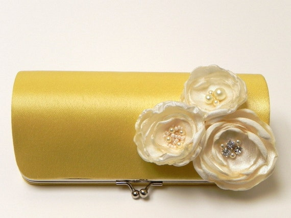 Shabby Chic Yellow Bridal Clutch - Bridesmaid Clutch Set - Kisslock Snap Bouquet Clutch - Trio Of Flower Blossoms with Rhinestones