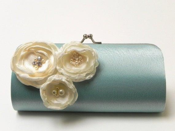 Bridesmaid Clutch Bridal Clutch in Dusty Aqua Seafoam - Ivory Flower Blossoms with Rhinestones - Something Blue