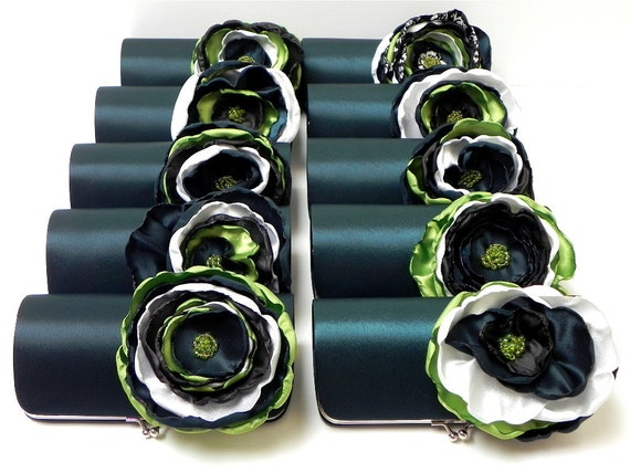 Emerald Clutch - Bridal Clutch - Bridesmaid Clutch with a Large Apple Green Emerald & Black Flower - Bouquet Clutch - Kisslock Snap Frame