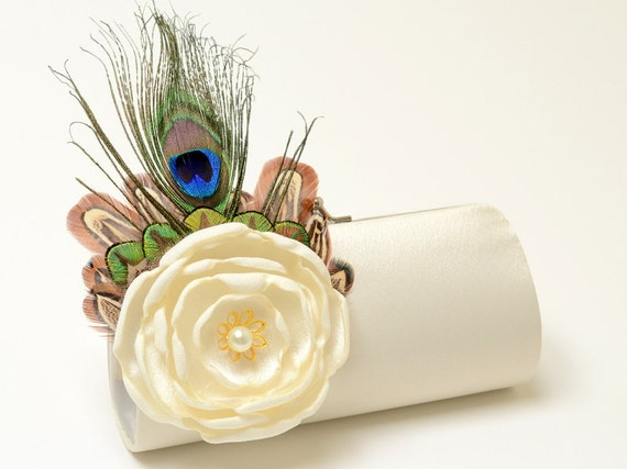 Ivory Bridal Clutch - Bridesmaid Clutch - Peacock Feather Clutch  - Ivory Bouquet Flower Clutch