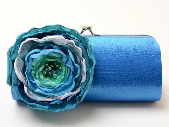 Bridesmaid Clutch Royal Blue Teal Seafoam Aqua-  Bridal Clutch - Something Blue Bridal Clutch