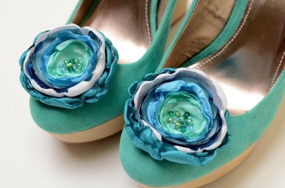 Bridesmaid Bridal Shoe Clips in Blue Teal Seafoam Aqua White - Something Blue Shoe Clips