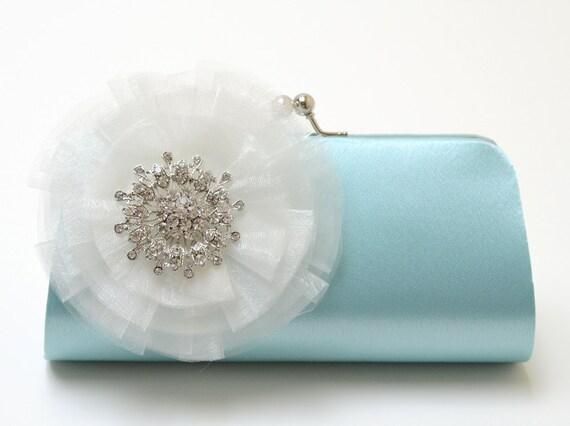 Rhinestone Bridal Clutch in Aqua Blue - Bridesmaid Clutch - Formal Clutch - Something Blue - Medium Size - Organza Flower Bloom SALE