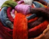 """GarnGalleriet Shetland wool top, handpainted in colorway """"Juneberries"""", 200 grams / 7 oz."""