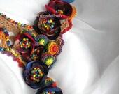 Crochet, statement necklace, fiber art, fabric and crochet