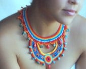 The shades of Summer, Crochet statement necklace, colorful, collar
