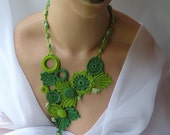 Stament Necklace, Chartreusse, Crochet, Botanical, 30 off right now PLEASE READ ANNOUNCEMENT