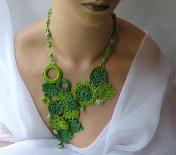 Stament Necklace, Chartreusse, Crochet, Botanical, 30 off right now PLEASE READ ANNOUNCEMENT
