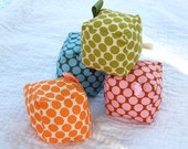 CORA PAIGE Fundraiser - Baby Toy - POLKA DOTS BAMBOO FILLED - ECO Friendly - Cloth Play Blocks Set of 4 Small - KnitStyle