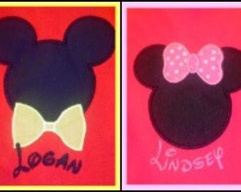 CUSTOM Girls or Boys ...  Applique Minnie or MIickey Shirt
