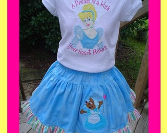 CINDERELLA Custom Twirl Skirt and Shirt ..Tee Includes appliqued Cinderella and Twirl has Appliqued Mouse