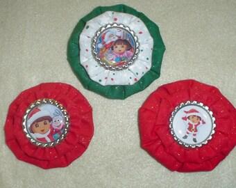 Custom CHRISTMAS Dora Bottle Cap Hair Clips