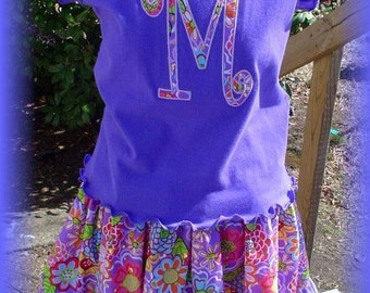 Custom Boutique Toddler Twirl Skirt and Applique Inital Shirt