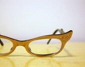 Vintage 1960s FRAME FRANCE Cat Eye Glasses and Case