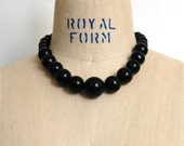 RESERVED Vintage 1970s Chunky Black Graduated Bead Choker Necklace