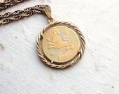 Vintage 1970s Leo Zodiac Pendant Necklace