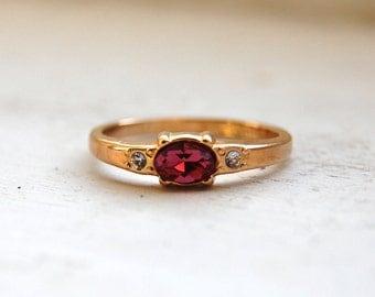 Vintage 1984 AVON Simulated Pink Diamond Ring
