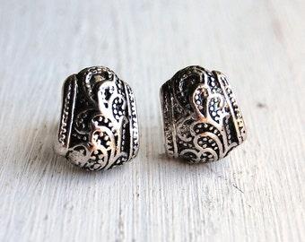 Vintage 1980s Filigree Silver Tone Earrings