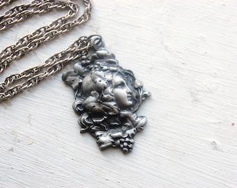Vintage 1960s Pewter Art Nouveau Flower Girl Pendant Necklace